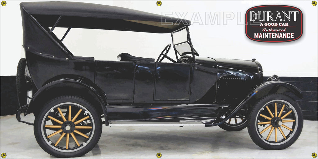 1923 DURANT STAR TOURING ANTIQUE CAR BLACK GARAGE SCENE SIDE VIEW BANNER SIGN ART MURAL VARIOUS SIZES
