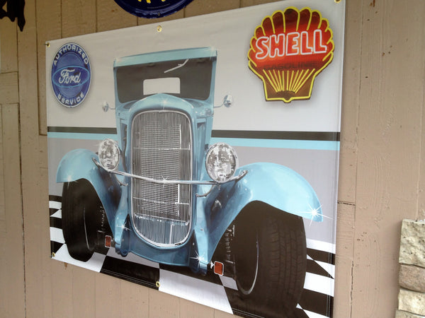 1930 FORD MODEL A PICKUP TEAL GARAGE SCENE ART MURAL Sign Printed Banner 4' x 3'