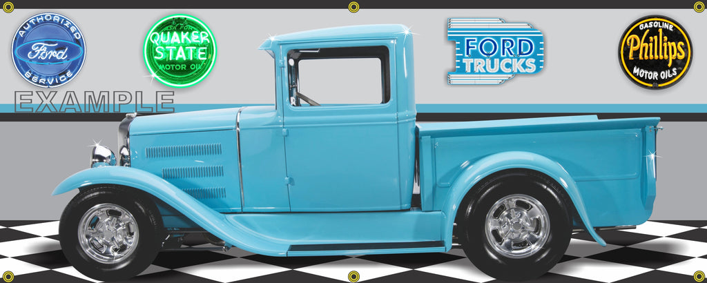 1931 FORD TRUCK PICKUP TURQUOISE BLUE GARAGE SCENE SIDE VIEW BANNER SIGN CAR ART MURAL VARIOUS SIZES