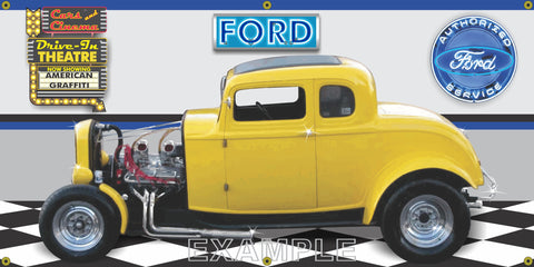 1932 FORD COUPE YELLOW HOT ROD AMERICAN GRAFFITI GARAGE SCENE SIDE VIEW BANNER SIGN ART MURAL VARIOUS SIZES