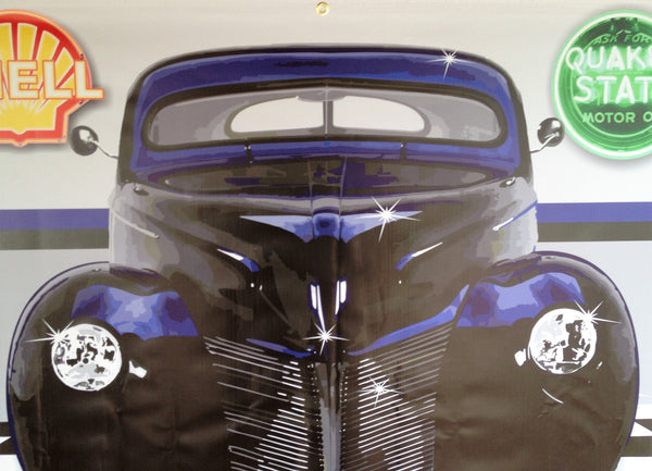 1940 MERCURY COUPE BLUE/DEEP PURPLE GARAGE SCENE Neon Effect Sign Printed Banner 4' x 3'