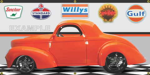 1941 WILLYS COUPE BRIGHT ORANGE HOT ROD GARAGE SCENE SIDE VIEW BANNER SIGN CAR ART MURAL VARIOUS SIZES