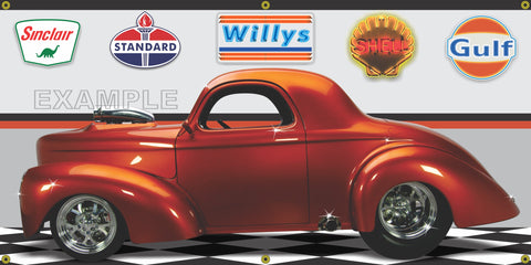 1941 WILLYS COUPE BURNT ORANGE HOT ROD GARAGE SCENE SIDE VIEW BANNER SIGN CAR ART MURAL VARIOUS SIZES