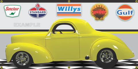 1941 WILLYS COUPE YELLOW HOT ROD GARAGE SCENE SIDE VIEW BANNER SIGN CAR ART MURAL VARIOUS SIZES