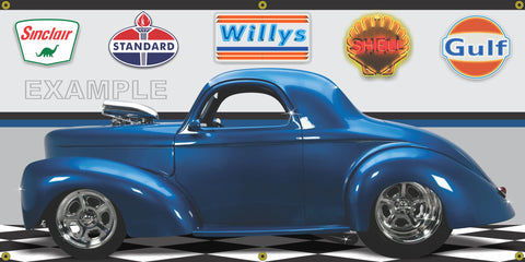 1941 WILLYS COUPE BLUE METALLIC HOT ROD GARAGE SCENE SIDE VIEW BANNER SIGN CAR ART MURAL VARIOUS SIZES