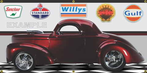 1941 WILLYS COUPE BURGUNDY MAROON HOT ROD GARAGE SCENE SIDE VIEW BANNER SIGN CAR ART MURAL VARIOUS SIZES