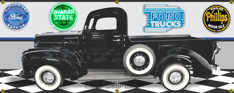 1946 FORD TRUCK PICKUP BLACK POST-WAR CAR GARAGE SCENE SIDE VIEW BANNER SIGN CAR ART MURAL VARIOUS SIZES