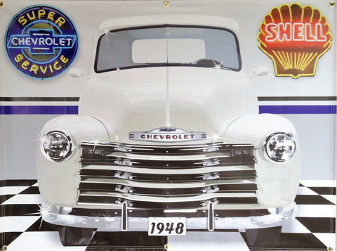 1948 Chevrolet 3100 Pickup Truck PEARL WHITE GARAGE SCENE Neon Effect Sign Printed Banner 4' x 3'