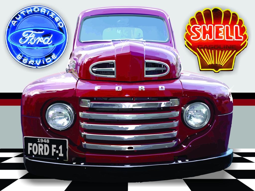 1948 FORD F1 TRUCK GARAGE SCENE Neon Effect Sign Printed Banner 4' x 3'
