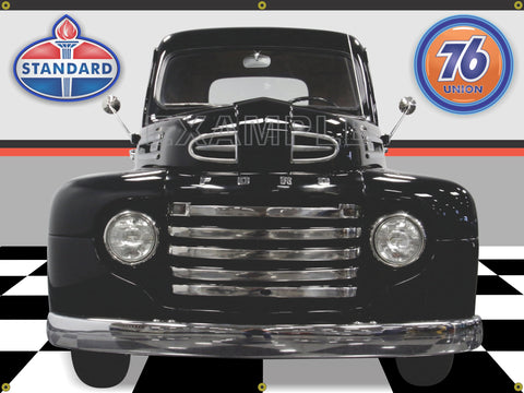 1949 FORD F1 CLASSIC TRUCK BLACK CAR GARAGE SCENE FRONT VIEW 3' X 4' BANNER SIGN CAR ART MURAL