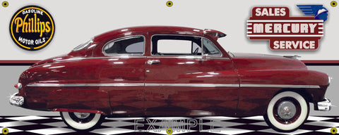 1949 MERCURY COUPE DEEP RED GARAGE SCENE SIDE VIEW BANNER SIGN CAR ART MURAL VARIOUS SIZES