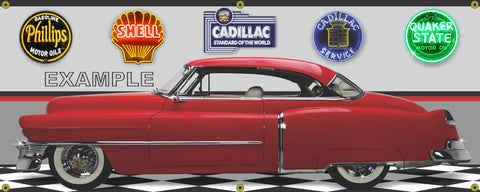 1950 CADILLAC SERIES 61 RED TWO DOOR CAR GARAGE SCENE SIDE VIEW BANNER SIGN ART MURAL VARIOUS SIZES