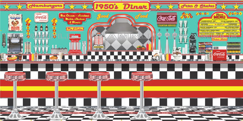 1950s DINER BURGER RESTAURANT SODA FOUNTAIN MURAL SIGN BANNER GARAGE ART VARIOUS SIZES