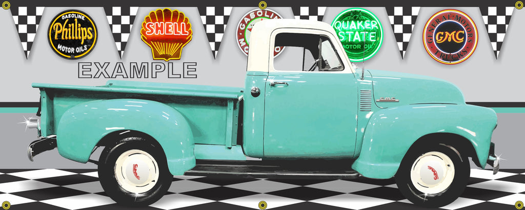 1952 GMC 100 TURQUOISE WHITE TRUCK STEPSIDE GARAGE SCENE SIDE VIEW BANNER SIGN ART MURAL VARIOUS SIZES