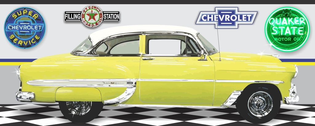 1953 CHEVROLET BEL AIR YELLOW WHITE CAR GARAGE SCENE SIDE VIEW BANNER SIGN ART MURAL VARIOUS SIZES