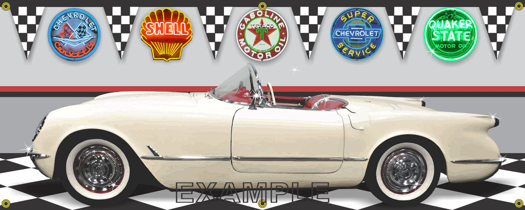 1954 CHEVROLET CORVETTE POLO WHITE CAR GARAGE SCENE SIDE VIEW BANNER SIGN ART MURAL VARIOUS SIZES