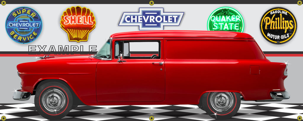 1955 CHEVROLET SEDAN DELIVERY RED CAR GARAGE SCENE SIDE VIEW BANNER SIGN ART MURAL VARIOUS SIZES