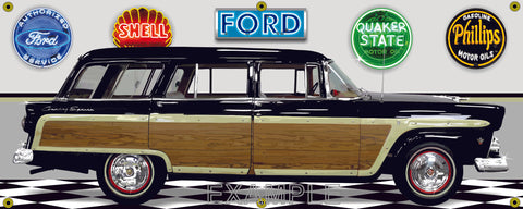 1955 FORD COUNTRY SQUIRE WAGON BLACK WOODY GARAGE SCENE SIDE VIEW BANNER SIGN CAR ART MURAL VARIOUS SIZES