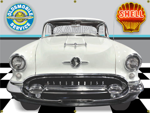 1955 OLDSMOBILE SUPER 88 POLAR WHITE CAR GARAGE SCENE FRONT VIEW 3' X 4' BANNER SIGN CAR ART MURAL