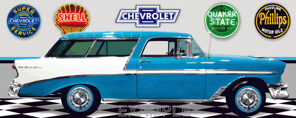 1956 CHEVROLET NOMAD TURQUOISE AND WHITE CAR GARAGE SCENE SIDE VIEW BANNER SIGN ART MURAL VARIOUS SIZES