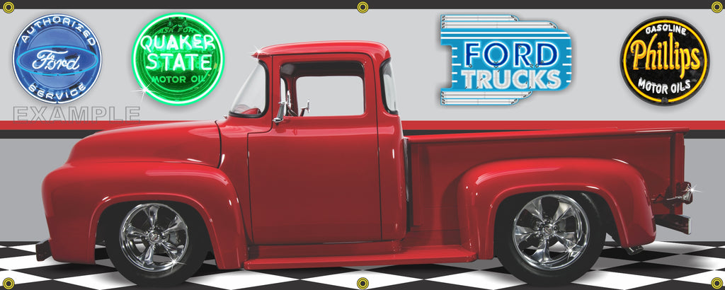 1956 FORD F100 TRUCK RED GARAGE SCENE SIDE VIEW BANNER SIGN CAR ART MURAL VARIOUS SIZES