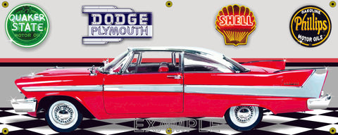1958 PLYMOUTH BELVEDERE 2-DOOR COUPE RED CAR GARAGE SCENE SIDE VIEW BANNER SIGN CAR ART MURAL VARIOUS SIZES