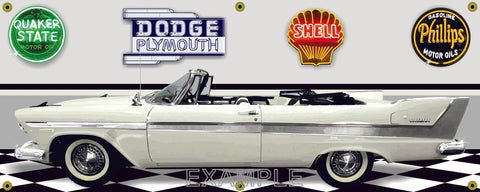1958 PLYMOUTH BELVEDERE WHITE CONVERTIBLE GARAGE SCENE SIDE VIEW BANNER SIGN CAR ART MURAL VARIOUS SIZES