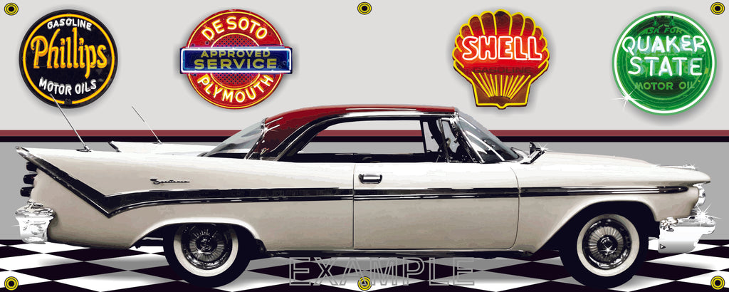 1959 DESOTO FIRESWEEP WHITE RED CAR GARAGE SCENE SIDE VIEW BANNER SIGN CAR ART MURAL VARIOUS SIZES