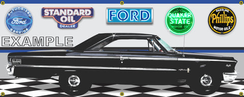 1963-1/2 FORD GALAXIE 500 BLACK CAR GARAGE SCENE SIDE VIEW BANNER SIGN CAR ART MURAL VARIOUS SIZES
