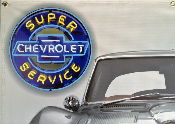 1963 CHEVROLET CORVETTE SILVER  SPLIT WINDOW COUPE GARAGE SCENE Neon Effect Sign Printed Banner 4' x 3'