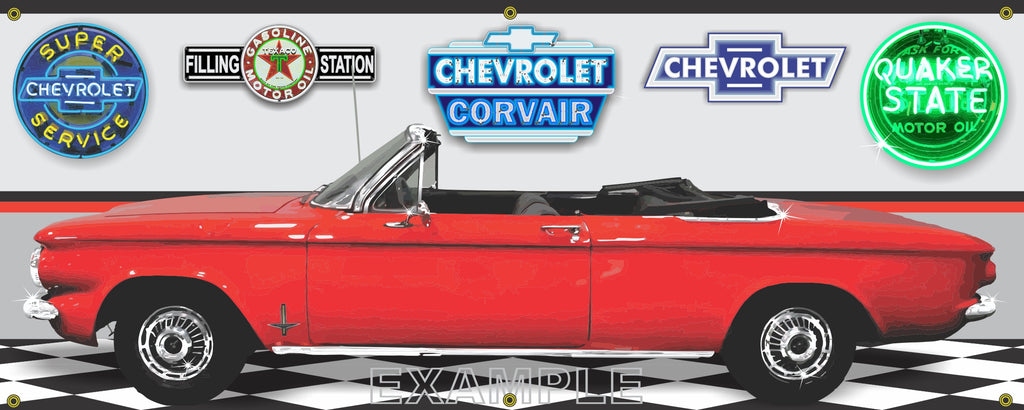 1964 CHEVROLET CORVAIR RED CONVERTIBLE CAR GARAGE SCENE SIDE VIEW BANNER SIGN ART MURAL VARIOUS SIZES