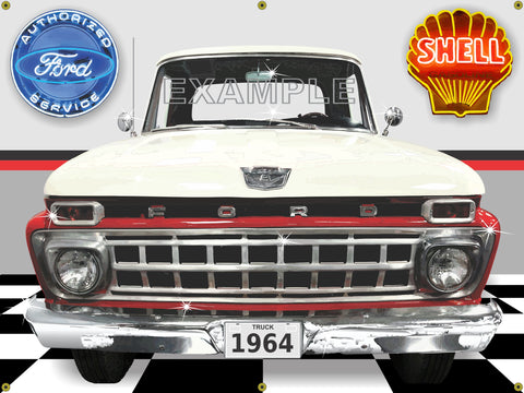 1964 FORD F100 TRUCK WHITE RED GARAGE SCENE SIDE VIEW BANNER SIGN CAR ART MURAL 4' X 3'