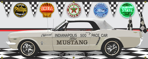 1964 FORD MUSTANG 289 WHITE INDY 500 PACE CAR GARAGE SCENE SIDE VIEW BANNER SIGN CAR ART MURAL VARIOUS SIZES