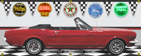 1964 FORD MUSTANG RED CONVERTIBLE CAR GARAGE SCENE SIDE VIEW BANNER SIGN CAR ART MURAL VARIOUS SIZES