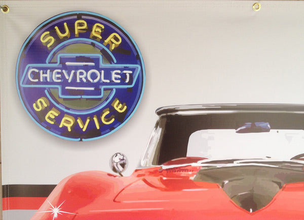 1965 RED CHEVY CORVETTE STINGER GARAGE SCENE Neon Effect Sign Printed Banner 4' x 3'
