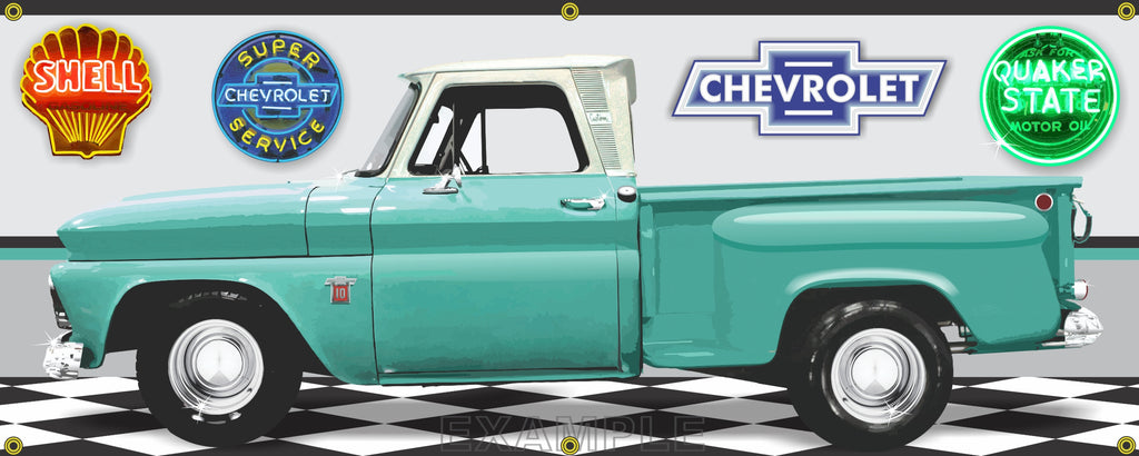 1966 CHEVROLET C10 TRUCK STEPSIDE LIGHT TURQUOISE GREEN GARAGE SCENE SIDE VIEW BANNER SIGN ART MURAL VARIOUS SIZES CUSTOM JOB