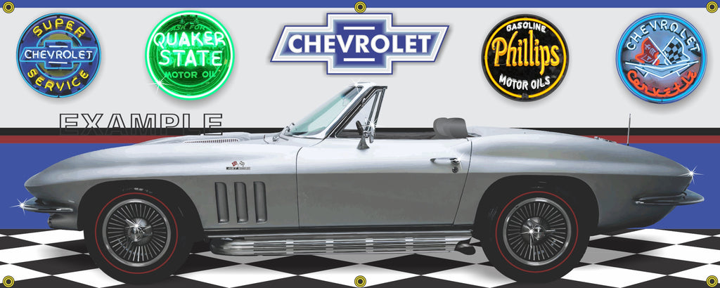 1966 CHEVROLET Corvette Convertible Silver Pearl 427 Big Block CAR GARAGE SCENE SIDE VIEW BANNER SIGN ART MURAL VARIOUS SIZES