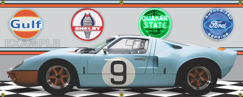 1966 FORD GT40 GULF BLUE ORANGE RACE CAR GARAGE SCENE SIDE VIEW BANNER SIGN CAR ART MURAL VARIOUS SIZES