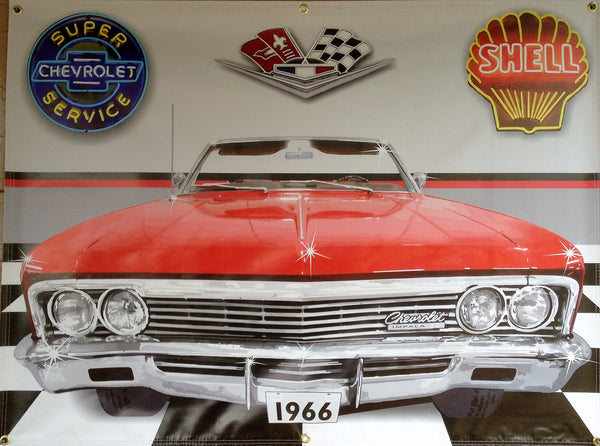1966 RED CHEVROLET CHEVY IMPALA CONVERTIBLE GARAGE SCENE Neon Effect Sign Printed Banner 4' x 3'