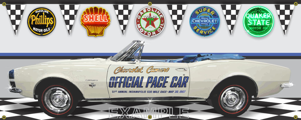 1967 CHEVROLET CAMARO INDY 500 PACE CAR WHITE BLUE CONVERTIBLE GARAGE SCENE SIDE VIEW BANNER SIGN ART MURAL VARIOUS SIZES