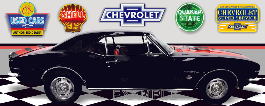 1967 CHEVROLET CAMARO RS BLACK W-RED STRIPES CAR GARAGE SCENE SIDE VIEW BANNER SIGN ART MURAL VARIOUS SIZES
