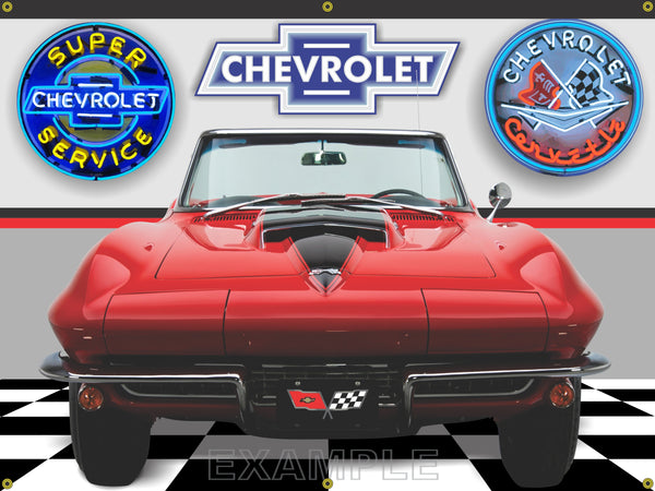 1967 CHEVROLET CORVETTE STING RAY CONVERTIBLE RALLY RED BLACK STINGER CAR GARAGE SCENE FRONT OR SIDE VIEW BANNER SIGN ART MURAL