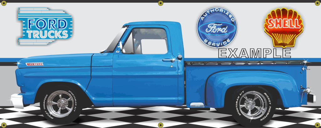 1967 FORD F100 TRUCK BLUE CUSTOM FLARESIDE GARAGE SCENE SIDE VIEW BANNER SIGN CAR ART MURAL VARIOUS SIZES