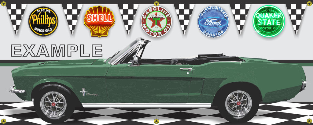 1968 FORD MUSTANG CONVERTIBLE HIGHLAND GREEN CAR GARAGE SCENE SIDE VIEW BANNER SIGN CAR ART MURAL VARIOUS SIZES