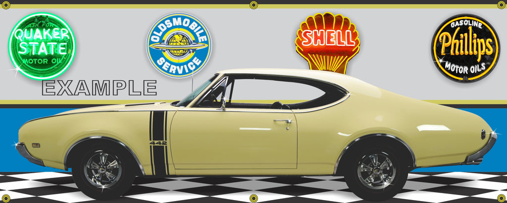 1968 OLDSMOBILE CUTLASS 442 SAFFRON YELLOW CAR GARAGE SCENE SIDE VIEW BANNER SIGN ART MURAL VARIOUS SIZES