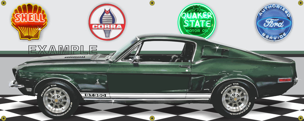 1968 SHELBY COBRA GT350-H HERTZ GREEN CAR GARAGE SCENE SIDE VIEW BANNER SIGN CAR ART MURAL VARIOUS SIZES