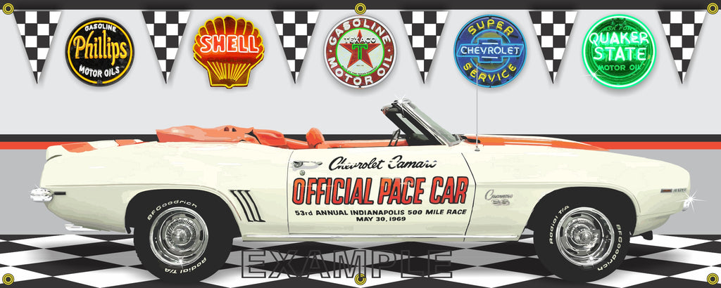 1969 CHEVROLET CAMARO INDY 500 PACE CAR WHITE GARAGE SCENE SIDE VIEW BANNER SIGN ART MURAL VARIOUS SIZES