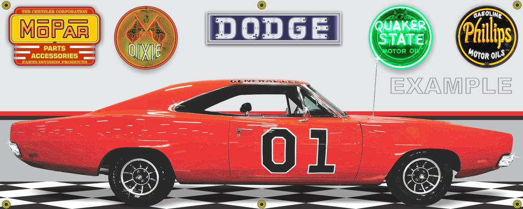 1969 DODGE CHARGER GENERAL LEE CAR GARAGE SCENE SIDE VIEW BANNER SIGN ART MURAL VARIOUS SIZES