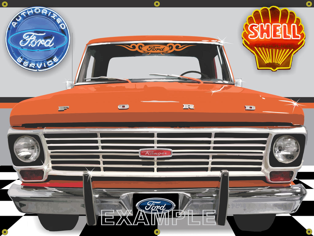 1969 FORD F-100 RANGER BURNT ORANGE TRUCK GARAGE SCENE SIDE VIEW BANNER SIGN CAR ART MURAL 4' X 3'