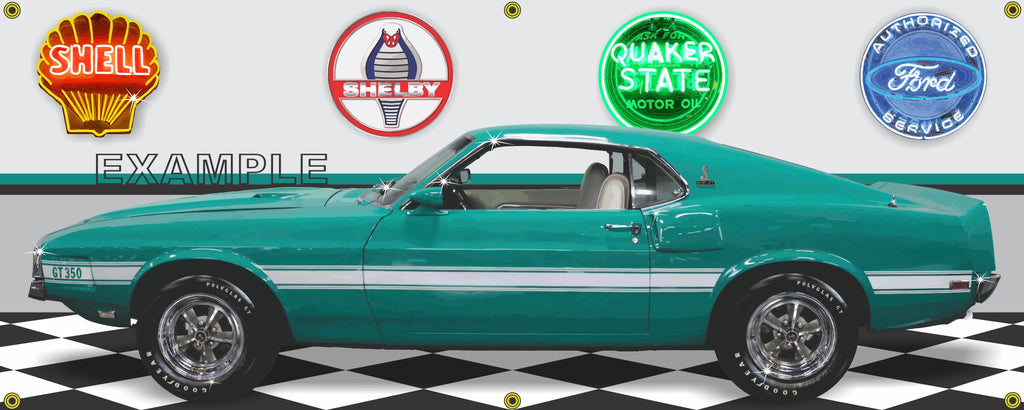 1969 MUSTANG SHELBY GT350 GREEN WHITE CAR GARAGE SCENE SIDE VIEW BANNER SIGN ART MURAL VARIOUS SIZES